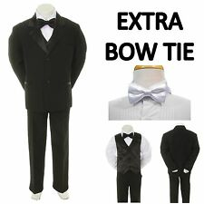 New Teen Boy Black FORMAL Wedding Prom Party Tuxedo Suit + White Bow Tie 16-20