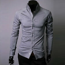 New Mens Dress Shirts Luxury Long Sleeve Casual Fit Slim Stylish Button-Front