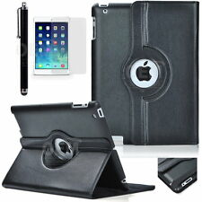 Fit iPad 2 3 4 Brand New 360 Rotating Leather Cover Case w/ Screen Protector Pen