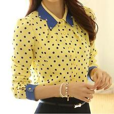 Korean Fashion Women Lapel Tops Long Sleeve Button Down Shirt Casual Blouse E50