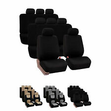 3-Row Fabric Auto Seat Covers Air Bag & Split Bench Compatible