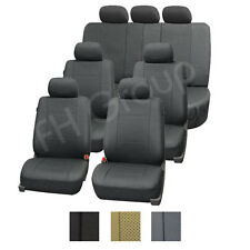 3-Row Deluxe Leatherette Auto Seat Covers Air Bag Safe & Split Bench Ready