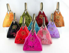 Chinese Handmade Silk Embroidery Triangle Handbag Bag Purse Wallet -Pick Color