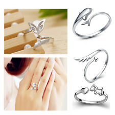 925 Silver Plating Ring Finger Girl Lady Fashion Rings Opening Adjustable GIFT