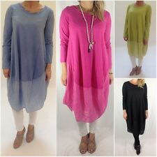 LADIES LAGENLOOK QUIRKY COCOON TUNIC OVERSIZED CURVE RANGE LONG DRESS TOP