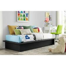 Upholstered Faux Leather Platform Bed Black Twin Full Queen Size Frame Bedroom