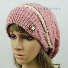Fashion Stylish Metal Buckle Stripe Ski Cap Wool Knit Big Pompom Beanies Hat New