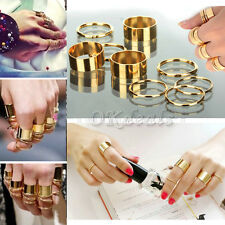 9Pcs Gold Tone Punk Wide Band Ring Stack Plain Knuckle Midi Mid Rings Set New