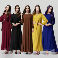 Beauty Girl Abaya Islamic Muslim Casual Long Sleeve Vintage Kaftan Dress Chiffon