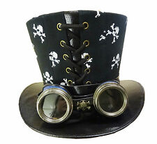 Steampunk Top hat with skulls and rustic handmade  goggles SKY7BWT