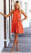 BNWT Angel Biba Orange Tribal Print Tunic Swing PARTY Dress 8 10 12 - REDUCED!
