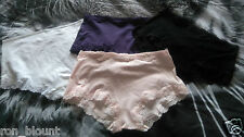MARKS & SPENCER COTTON LACE TRIM.HIGH RISE KNICKERS SIZE 8-22 ,BLACK,PINK,WHITE