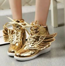 Chic High Top Sneakers Womens Flat Warm Lace Up Wing Athletic Shoes Ankle Boots