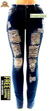 Juniors WOMENS PLUS SIZE HI WAIST BLUE Denim Distressed JEANS Ripped Pants K273