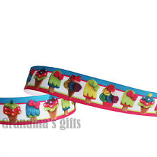 "1""25mm Icecream Printed Grosgrain Ribbon 5/50/100 Yards Hairbow Wholesale"