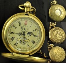 Antique Vintage 100% Copper Wind up Mechanical Pocket Watch FOB Chain Mens Gifts