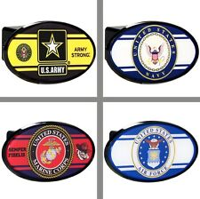 "Choose Your US Military Branch 2"" Oval Trailer Hitch Receiver Cover"