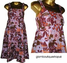 GORGEOUS MONSOON LILAC BROWN FLORAL COTTON SUMMER SUN DRESS SIZE 8 £11.99!