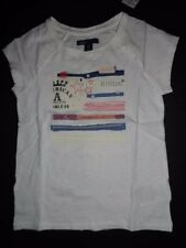 NWT Gap Kids 6-7 8 Flag Stars Patch Graphic T-shirt White Short Sleeve Top