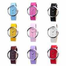 Fashion Women's Lady Quartz Leather Transparent Dial Analog Unique Wrist Watches