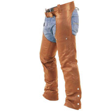 Sexy Mens Real Brown Leather Motorcycle Bikers Chaps Jeans Trouser Pants