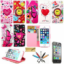 For Apple iPhone 5 6 Cute Flower Victory Smile Card Slot Wallet Case Cover