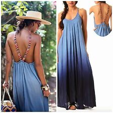 Raviya DENIM BLUE OMBRE Maxi Dress Low Back Boho Tribal Straps Beach Cover Up