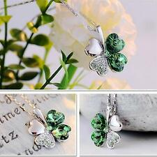 Girl Sweet Necklace Lucky Four Leaf Clover Pendant Neck Chain Jewelry Gift Decor