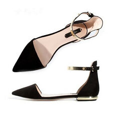 Vogue Womens Flat Suede Comfort Ankle Strap Pointy Toe Pumps Mary Janes OL Shoes