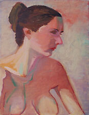 Original Oil Painting by Wilfrid Desir Nude Woman Looking Down