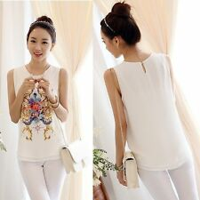 Korea Women Chiffon Sleeveless Floral Blouse Casual Shirt Vest T-shirt Tank Tops