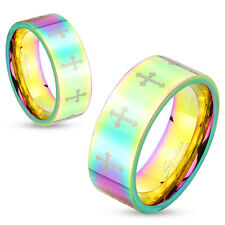 316L Stainless Steel Rainbow Hue Etched Cross Band Ring, Sizes 5-13