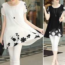 Women's Casual Summer Loose Chiffon Floral Print Short Sleeve Blouse Casual Tops