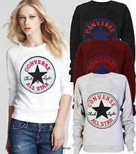 NEW WOMENS LADIES CONVERSE ALL STAR PRINT JUMPER SWEATSHIRT SIZE 8 10 12 14