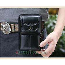 New Men Genuine Leather Cell Phone Case Cover Hip Bum Belt Fanny Pack Waist Bag