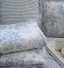Shabby French Country Blue Toile Paris Apartment Chic Throw Quilt