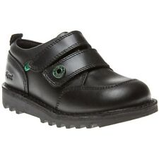 New Infants Kickers Black Kick Racer Leather Shoes Velcro