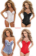 New Sexy Womens Boned Lace up Overbust Corset Satin Lingerie G-string S-6XL