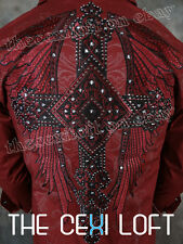 VICTORIOUS Burgundy Double Wing Crystal Button Embroidered Shirt ROAR with Class