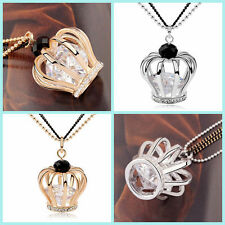 18K White Yellow Gold GF Swarovski Crown Crystal Jewellery Pendant Long Necklace
