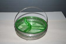Green Depression Glass Divided Candy Nut Dish in a Metal Holder