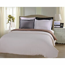 Wrinkle Resistant Solid 3-Line Embroidery 3-piece Duvet Cover Set with Giftable