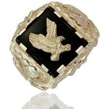 Black Hills Gold Mens 10K Gold Eagle Ring with Onyx Size 9 to 14