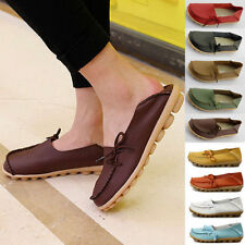 Womens Leather Comfort Casual Walking Bowed Flat Shoes Loafers Moccasin Slide /A