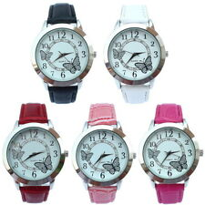Fashion White Dial Butterfly Lady Girl Leather Quartz Crystal Wristwatch U16