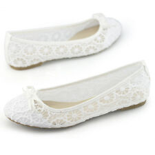 ladies bridesmaid shoes white lace bowknot comfortable flat slip on casual pumps