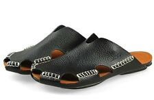 Fashion mens beach casual real leather  slides sport sandal summer slipper shoes