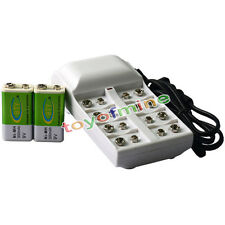2x 9V 6F22 PPS 300mAh Ni-Mh Rechargeable Battery + 8 Slot Batteries Charger