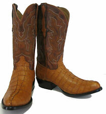 Men's Genuine Crocodile Alligator Exotic Tail Cowboy Western Boots R Toe Cognac
