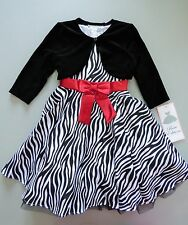 RARE EDITIONS® Girl's 6X Zebra Print Velvet Jacket & Holiday Dress *NWT*